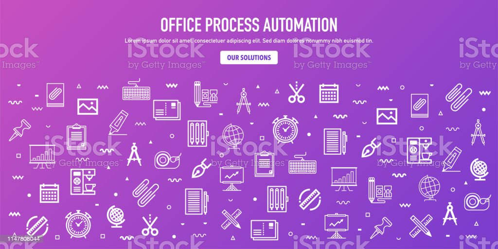 Office process automation outline style web banner design. Line...