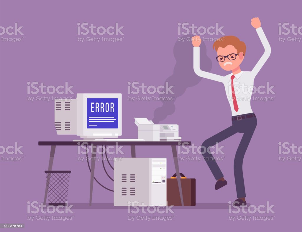 Office prtinter error vector art illustration