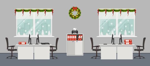 büroraum, dekoriert mit weihnachtsdekoration - firmenweihnachtsfeier stock-grafiken, -clipart, -cartoons und -symbole