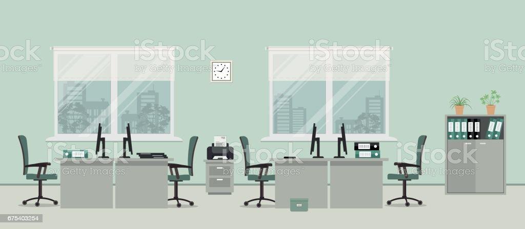 Gri renkli oda ofis royalty-free gri renkli oda ofis stok vektör sanatı & başarı'nin daha fazla görseli
