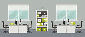 Office room in a gray color