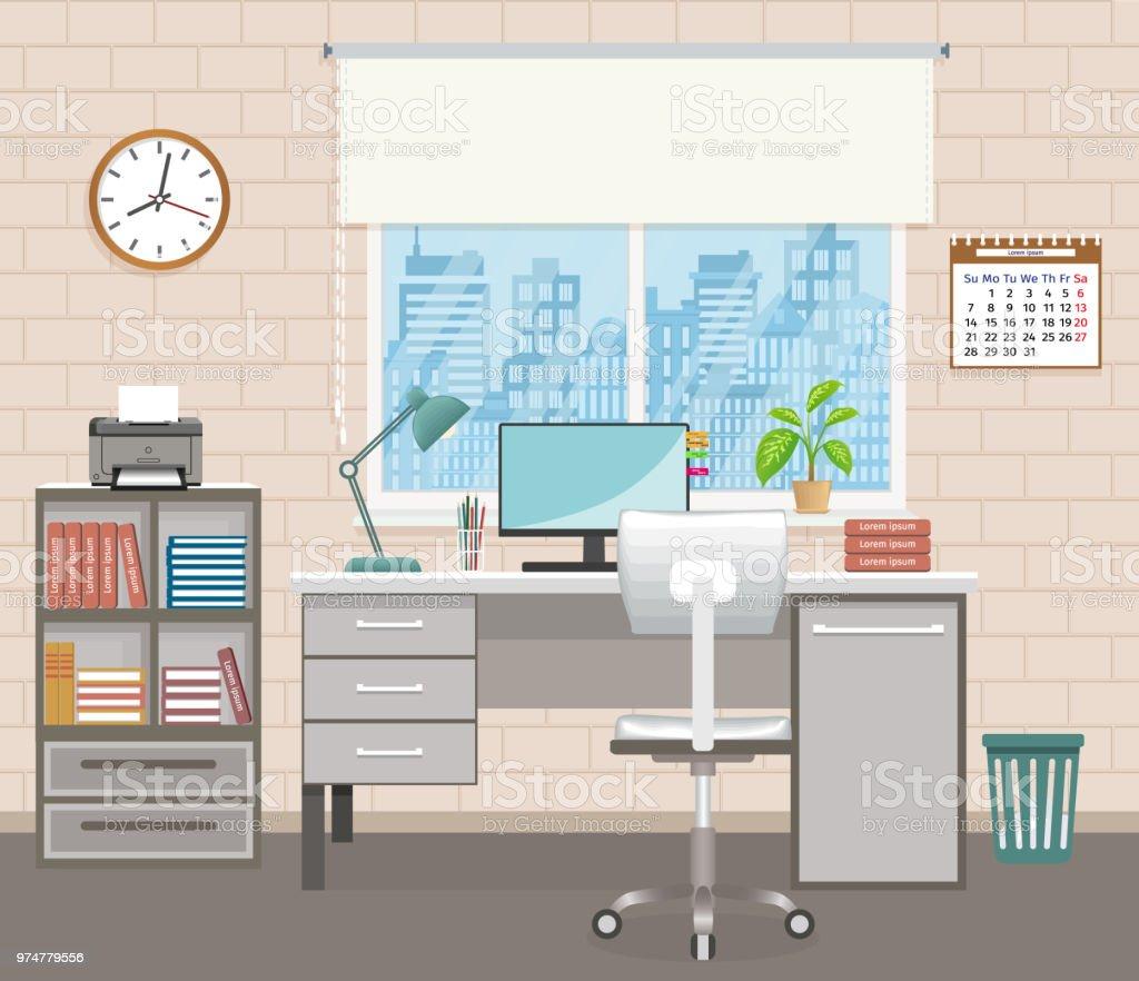 Innenarchitektur Des Buros Raum Mit Mobeln Buromaschinen Und Fenster