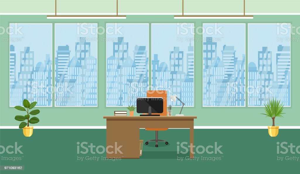 Office Room Interior Design With Workplace Plants And Window Without
