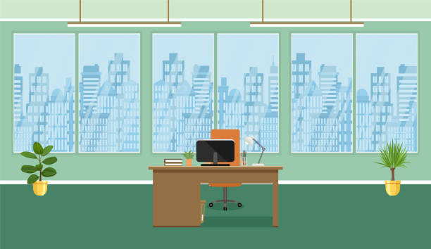 ilustrações de stock, clip art, desenhos animados e ícones de office room interior design with workplace, plants and window without people. working indoor room workspace. - office background