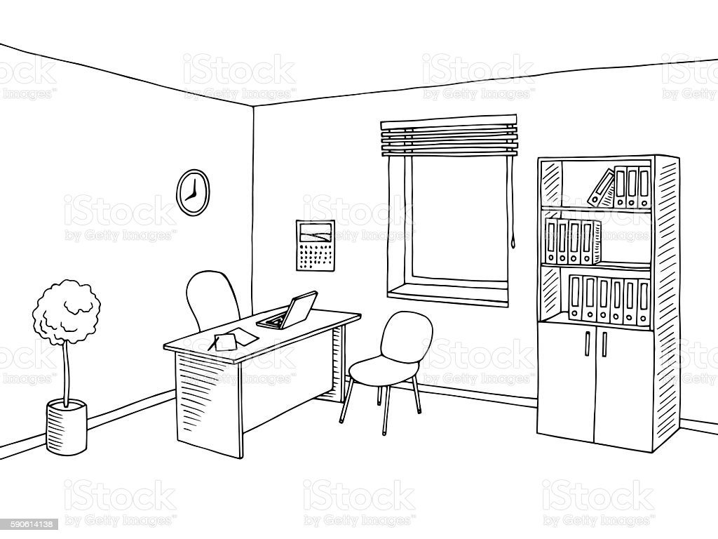 Office Room Interior Graphic Art Black White Sketch Illustration Rh  Istockphoto Com Beach Clip Art Black And White Office Office Building Clipart  Black And ...