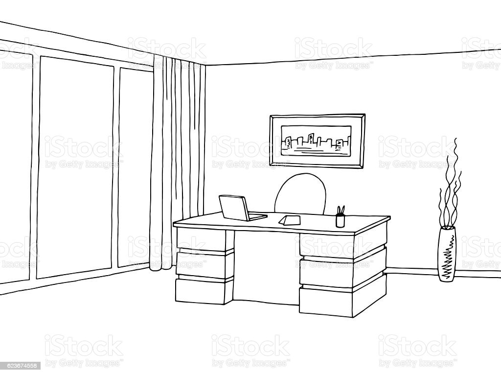 Line Drawing Room : Office room interior graphic black white sketch