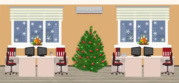 büro-innenraum in weihnachtsmotiv mit zwei arbeitsplätzen am abend vor weihnachten. urlaub-eva im firmensitz. - firmenweihnachtsfeier stock-grafiken, -clipart, -cartoons und -symbole