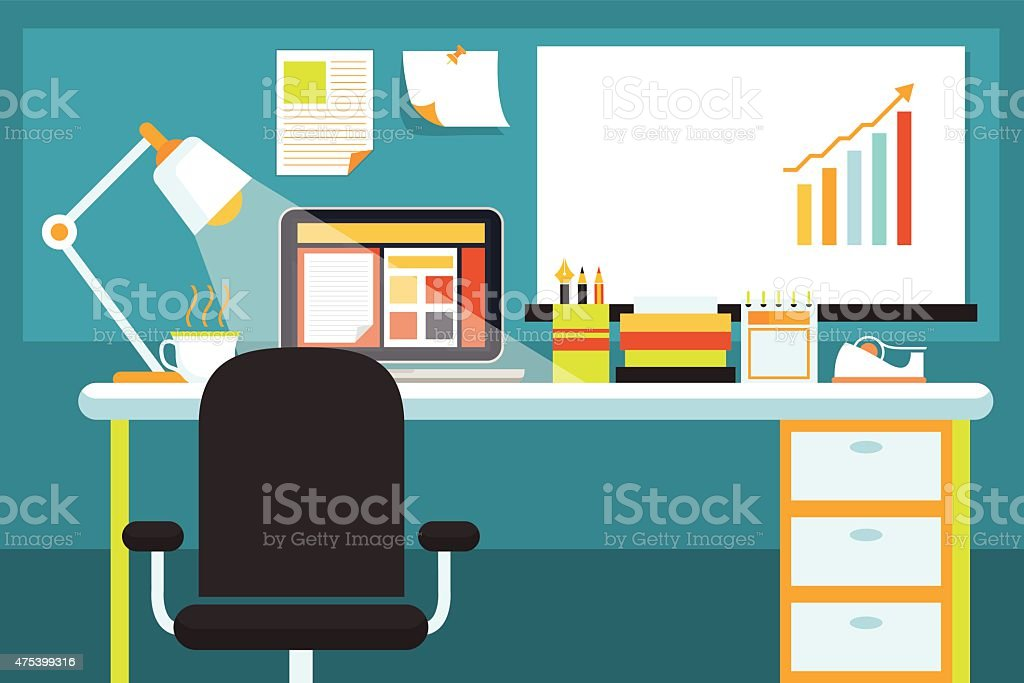Oficina con escritorio y art culos de oficina y art culos de papeler a illustracion libre de - Papeleria de oficina ...