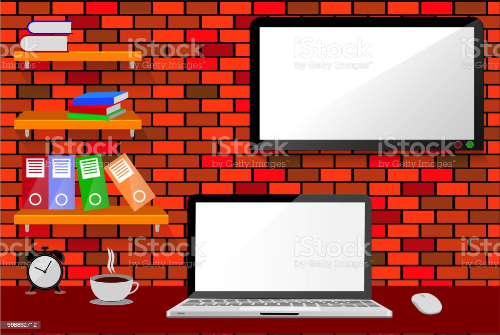 Office Room, with hanging shelf, and LED or LCD TV at red brick wall vector art illustration