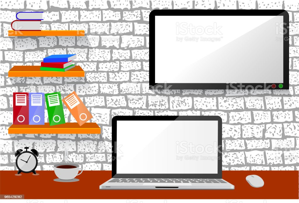 Office Room, with hanging shelf, and LED or LCD TV at sketchy white brick wall office room with hanging shelf and led or lcd tv at sketchy white brick wall - stockowe grafiki wektorowe i więcej obrazów biurko royalty-free