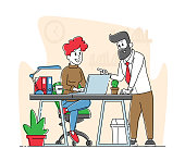 Office Scene Business People Characters Discuss Project in Office. Company Teamwork Collaboration. Workflow Process, Idea Development, Management, Data Analysis. Linear People Vector Illustration