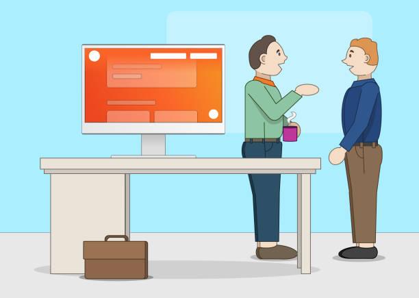 Büroszene Desktop Anwendung Illustration – Vektorgrafik