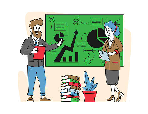 Office Scene with Business Characters. Seminar, Trainer Giving Financial Consultation Stand at Chalkboard with Data