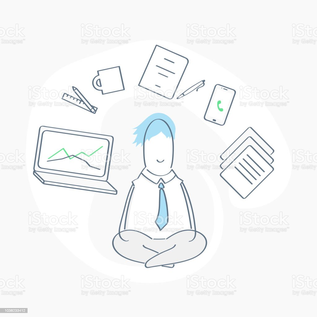 Office scene with Meditating cute Manager Relaxed in Yoga lotus pose vector art illustration