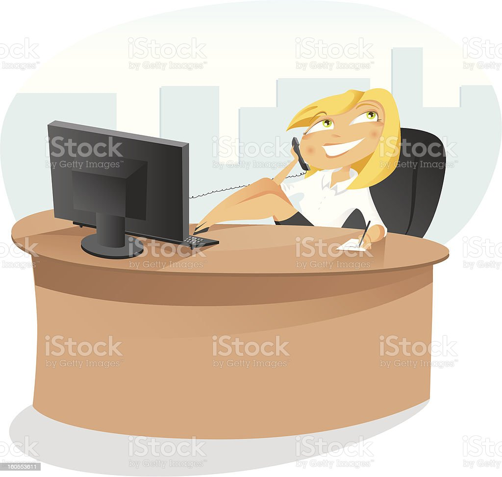 Office secretary talking to the telephone at desk vector art illustration