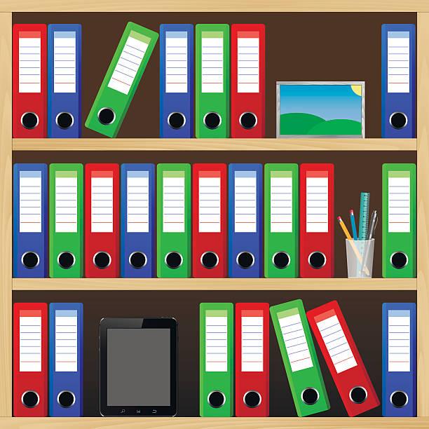büro regale mit verschiedenen objekten - stiftehalter stock-grafiken, -clipart, -cartoons und -symbole