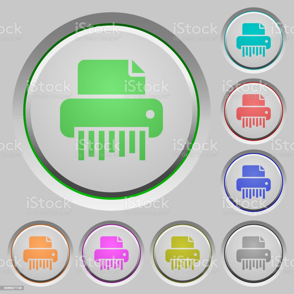 Office shredder push buttons vector art illustration