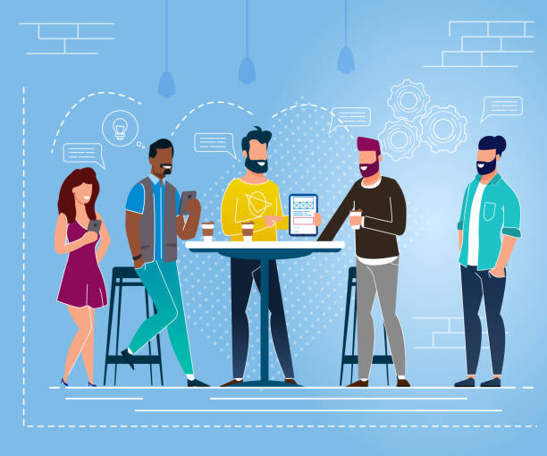 Office Situation Lunch Break Vector Illustration. Office Situation Lunch Break Vector Illustration. Young People Happily Communicate Standing at Table. Boys and Girls Laugh and Drink Hot or Cold Drinks. Discussion Business Issues During Break. colleague stock illustrations