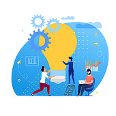 Office Situation Support for Ideas Cartoon Flat. Personal Effectiveness Lies in Proper Allocation Time. Guys Hold Big Incandescent Bulb. Man Sitting at Table with Laptop. Vector Illustration.