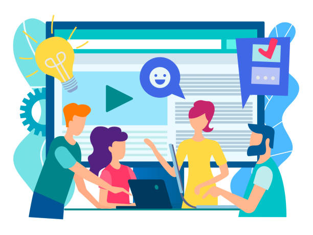 office staff discuss current tasks with the help of modern technology gadgets, social media, the internet. - group of people stock illustrations