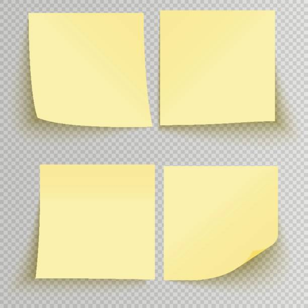 illustrazioni stock, clip art, cartoni animati e icone di tendenza di office sticky stickers - post it