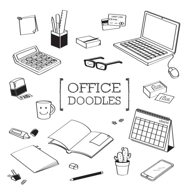 Office stuff Doodles.Hand drawing styles with Office stuff. Hand drawing styles with Office stuff. business cards and stationery stock illustrations