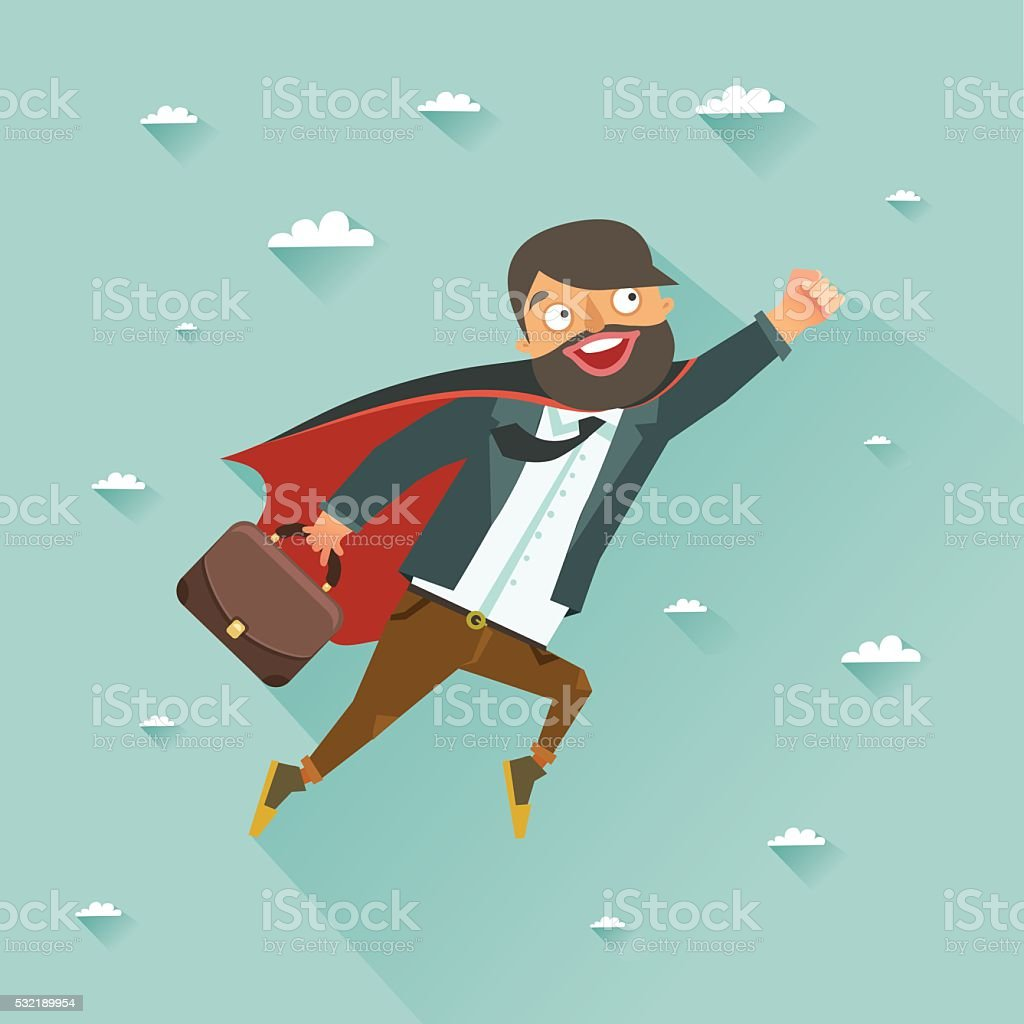 Office super heroes flying to achieve his goal vector art illustration