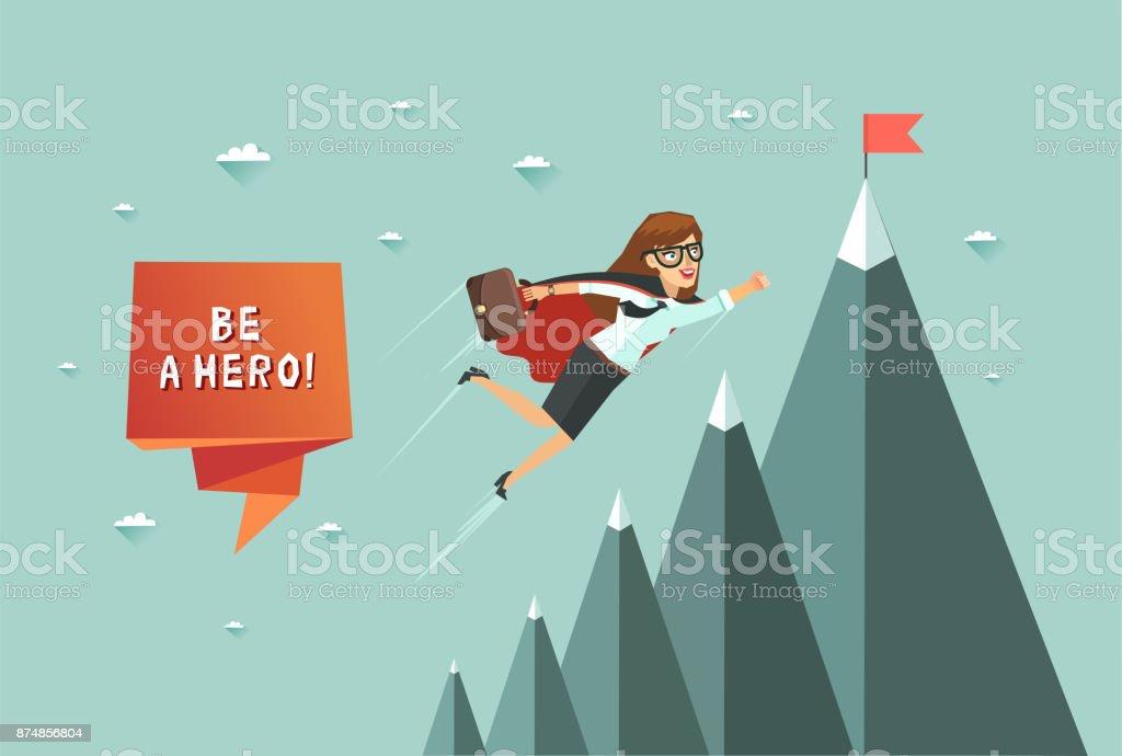 Superwoman bureau volant pour atteindre son objectif stock vecteur