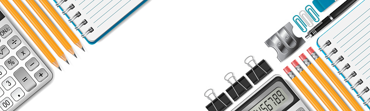 Office supplies and school stationery horizontal banner with free space for text. Realistic vector illustration.
