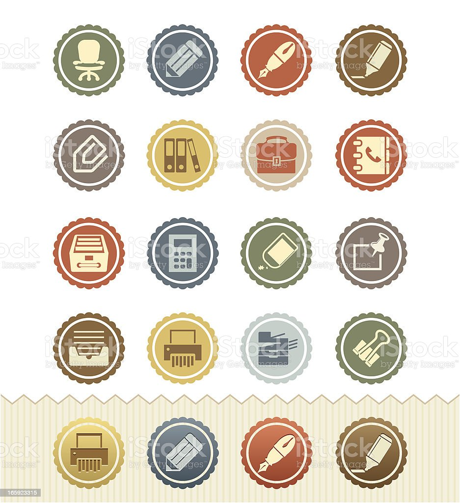 Office Supplies and Stationery Icons : Vintage Badge Series royalty-free stock vector art