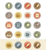 Office Supplies and Stationery Icons : Vintage Badge Series