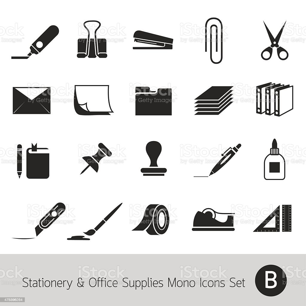 Office Supplies and Stationery Objects Mono Icons Set B vector art illustration
