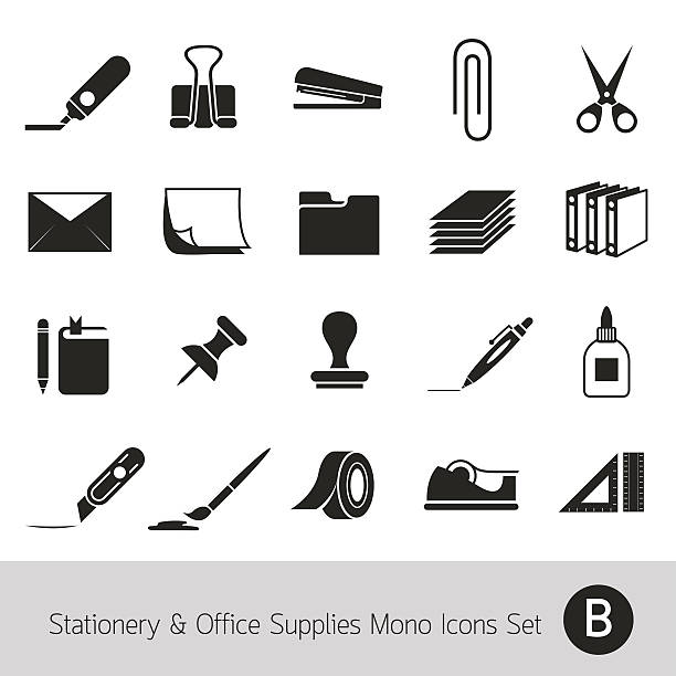 Office Supplies and Stationery Objects Mono Icons Set B Office Supplies and Stationery Objects stapler stock illustrations