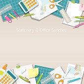 Office Supplies and Stationery Paper Background and Frame