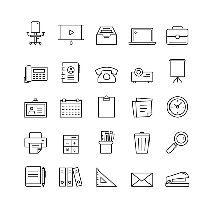 Office Supplies and Stationery Related Vector Line Icons