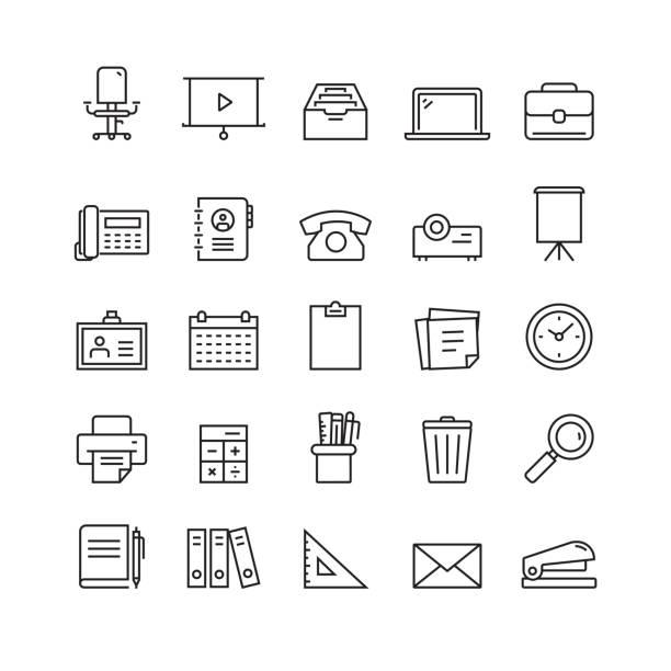 bürobedarf und schreibwarenindustrie - flipchart stock-grafiken, -clipart, -cartoons und -symbole