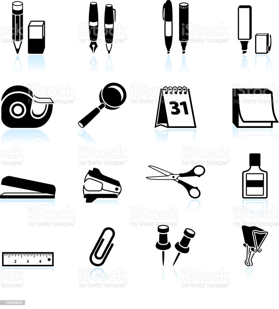 office supplies black and white royalty free vector icon set royalty-free stock vector art