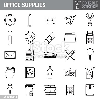 A set of editable stroke thin line icons. File is built in the CMYK color space for optimal printing. The strokes are 2pt black and fully editable, so you can adjust the stroke weight as needed for your project.