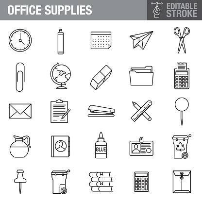 Office Supplies Editable Stroke Icon Set