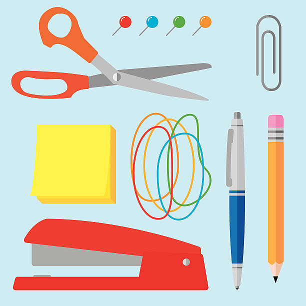 Office Supplies Flat 1 Vector illustration of various office supplies in flat style. Includes scissors, paper clip, stapler, pen, pencil, thumb tacks, sticky notes, and rubber bands. stapler stock illustrations