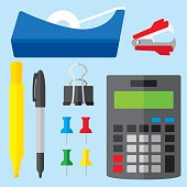 Vector illustration of various office supplies in flat style. Includes tape dispenser, staple remover, highlighter, permanent marker, thumbtacks, binder clip and calculator.