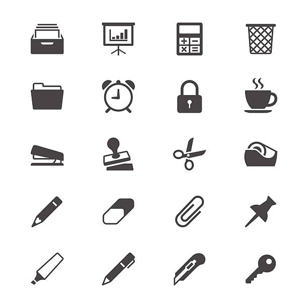 Office supplies flat icons Simple vector icons. Clear and sharp. Easy to resize. No transparency effect. EPS10 file. stapler stock illustrations