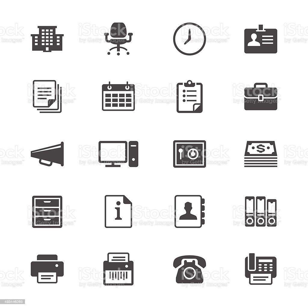Office supplies flat icons vector art illustration