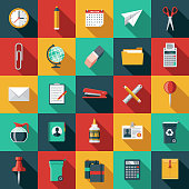 A set of office supplies icons. File is built in the CMYK color space for optimal printing. Color swatches are global so it's easy to edit and change the colors.