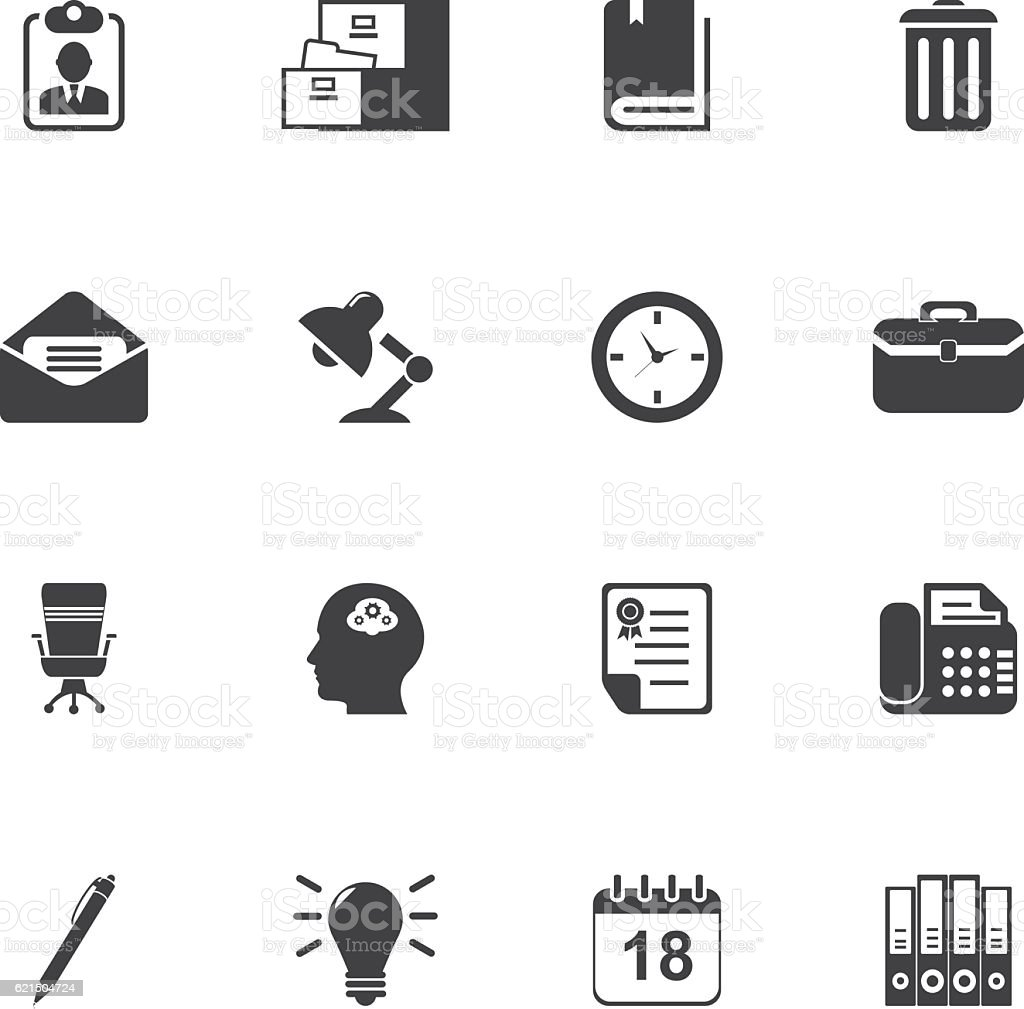 Office Supplies Icon Set office supplies icon set - immagini vettoriali stock e altre immagini di affari royalty-free