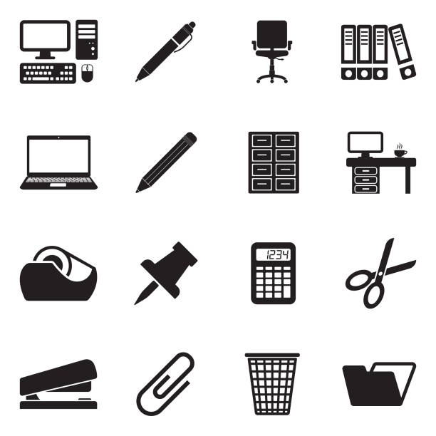 bürobedarf-symbole. schwarze flache bauweise. vektor-illustration. - schrankkorb stock-grafiken, -clipart, -cartoons und -symbole