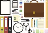 Office supplies in flat design