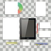 Office Supplies Isolated on Grey Checkered Background. Items on Office Desk.