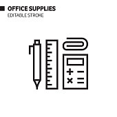 istock Office Supplies Line Icon, Outline Vector Symbol Illustration. Pixel Perfect, Editable Stroke. 1213278143