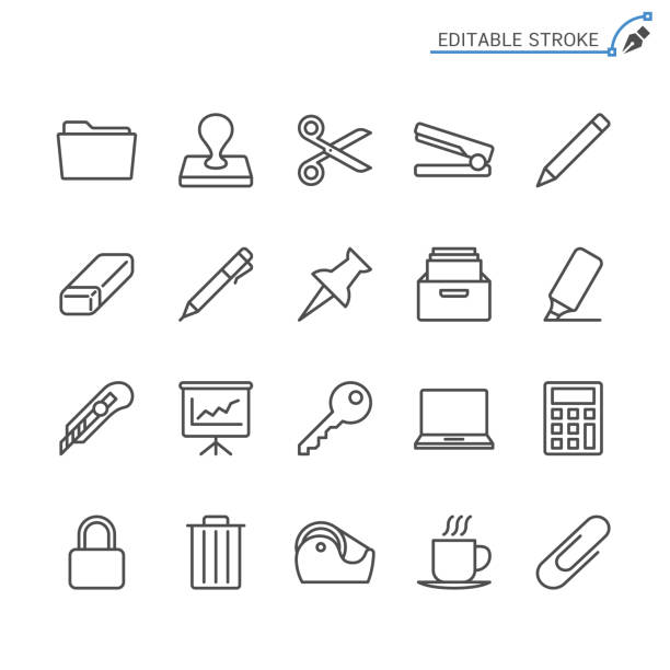 Office supplies line icons. Editable stroke. Pixel perfect. Simple vector line Icons. Editable stroke. Pixel perfect. scissors stock illustrations